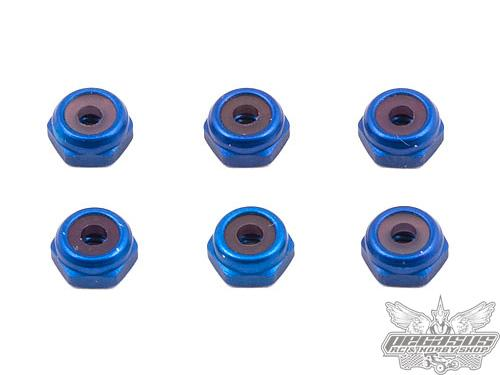 Team Associated FT 4-40 Aluminum Locknut, Blue Anodized (6)