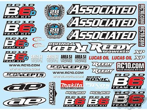 Team Associated B6 Decal Sheet