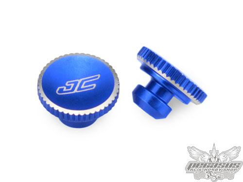 JConcepts B5M, T5M, SC5M, 3mm battery hold down thumbscrew, blue - 2pc.