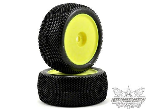 JConcepts Subcultures - green compound - Elevated, yellow wheel 1/8th truck tire - pre-mounted 2pcs