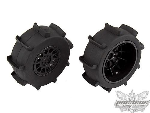 Team Associated Sand Paddle Tires and Method SC Wheels, mounted, black, rear