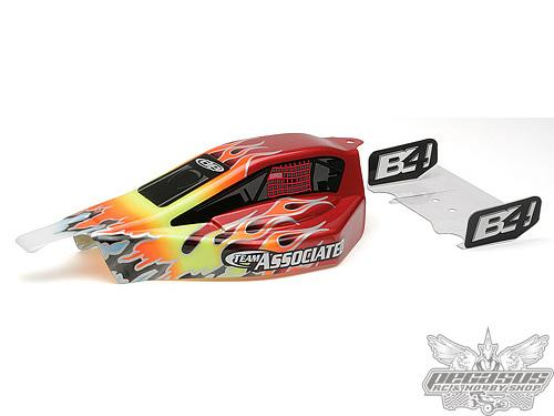 Team Associated B4 Painted Body, Flames, Red Background