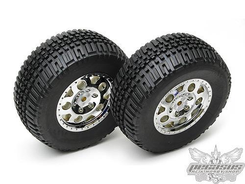 Team Associated SC10 Tire/Wheel Combo, chrome wheels, rear (non-hex)