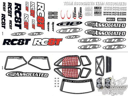 Team Associated RC8T Decal Sheet
